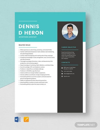 advertising assistant resume template