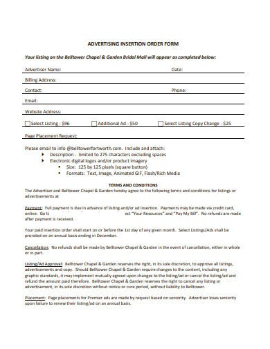 advertising insertion order form
