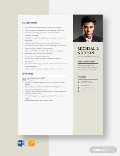 advertising representative resume template