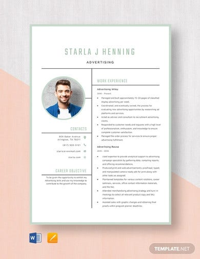 advertising resume template1