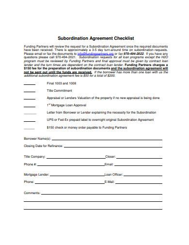 agreement checklist in pdf