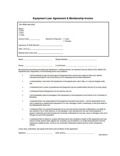 agreement loan invoice
