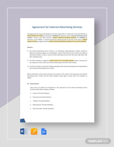 agreement for internet advertising services template