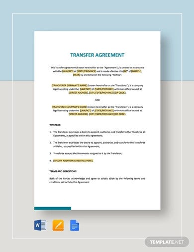 agreement of transfer template1