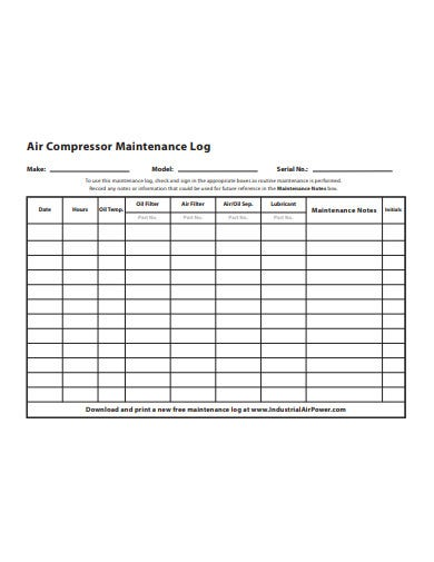 air compressor maintenance log template