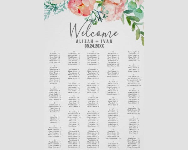 alphabetical seating chart template