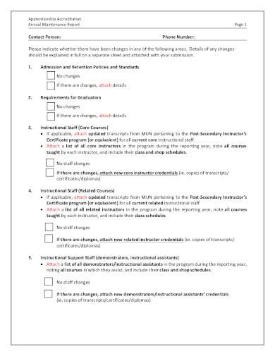 annual maintenance report in pdf