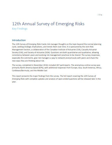 annual survey of emerging risks