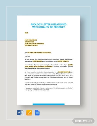 apology letter dissatisfied with quality of product template