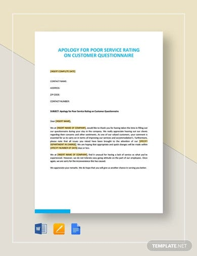 apology for poor service rating on customer questionnaire template