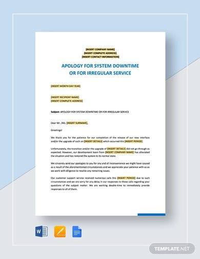 apology for system downtime or irregular service template