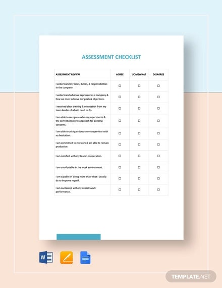 assessment checklist template