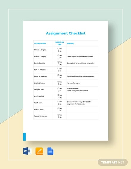 assignment checklist template