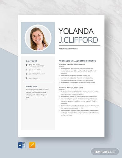 assurance manager resume template1