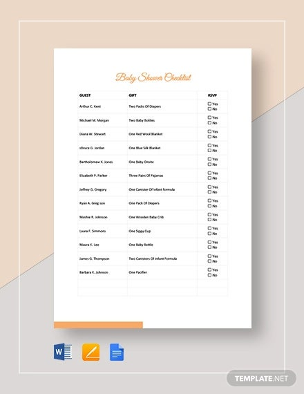 baby shower checklist template