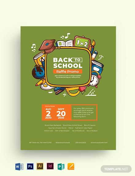 back to school raffle flyer