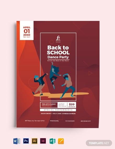 back to school dance flyer template