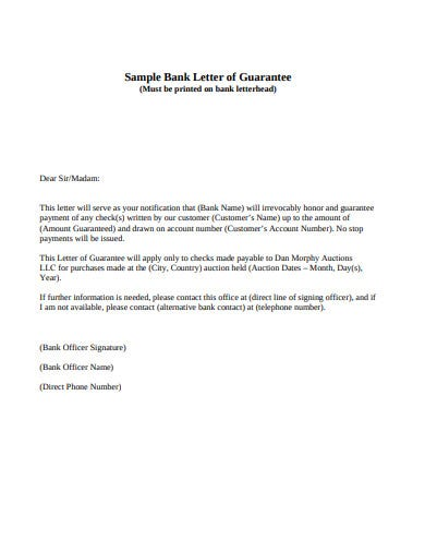 letter of bank guarantee template