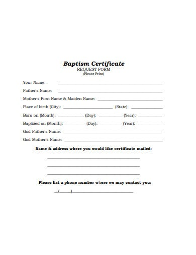 baptism certificate request form example