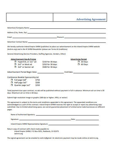 basic advertising agreement template
