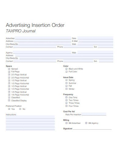 basic advertising insertion order