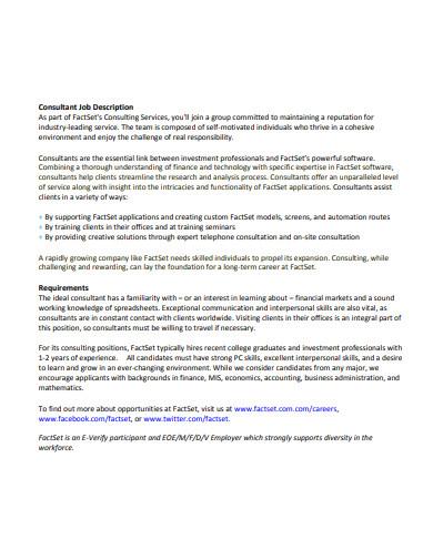 basic consultant job description
