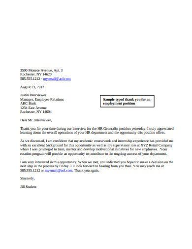 basic employee thank you letter