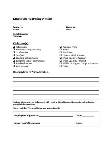 basic employee warning notice template