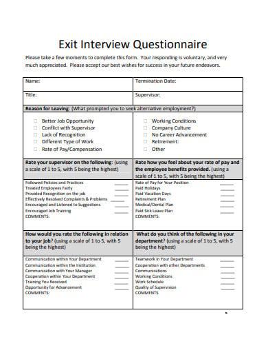 basic exit interview questionnaire