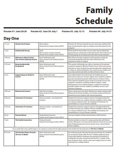 basic family schedule example