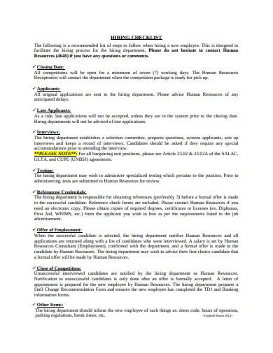 basic hiring checklist example