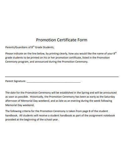 basic promotion certificate