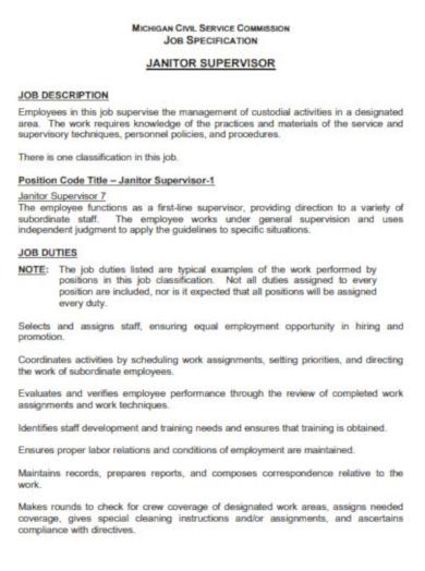 10+ Supervisor Job Description Templates - PDF | Free