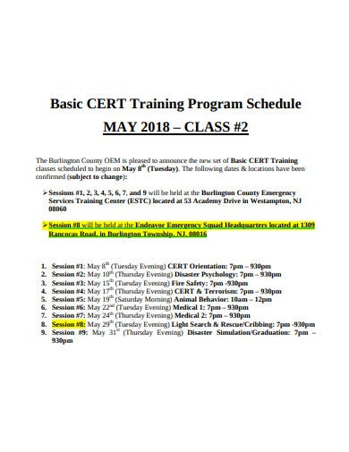 basic training program schedule template