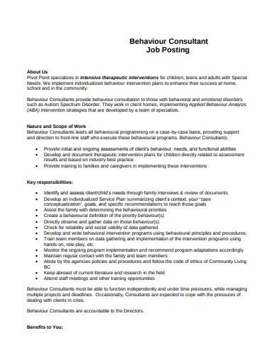 behaviour consultant job description