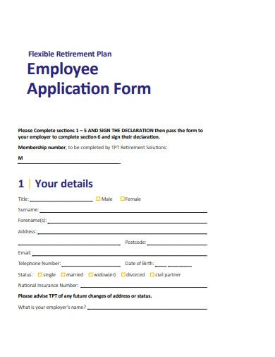 blank employee application form template