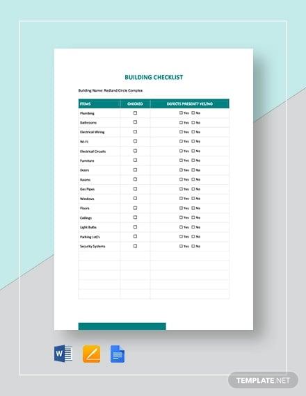 Building Checklist Templates 18 Word Pdf Format Download Free Premium Templates