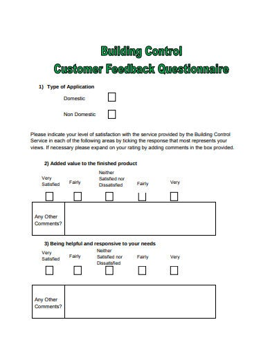 building control customer feedback questionnaire template