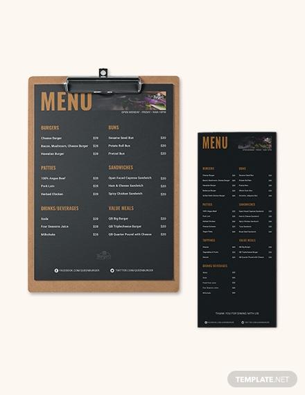 burger flyer menu template