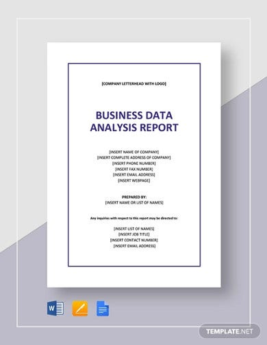 business data analysis report template2