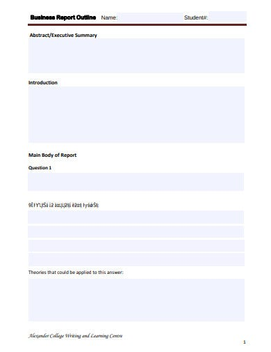 business outline report form