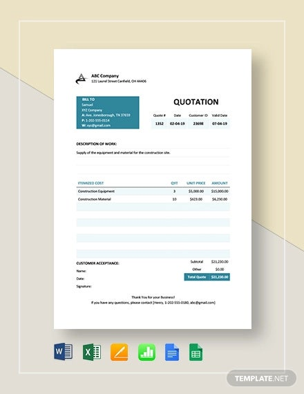 business quotation format template