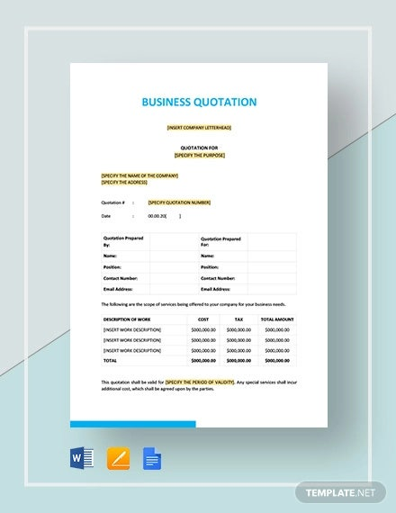 business quotation template2