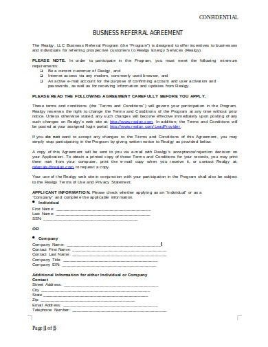 business referral agreement template