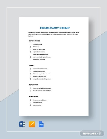business startup checklist template