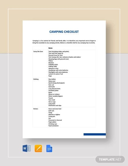 camping checklist template