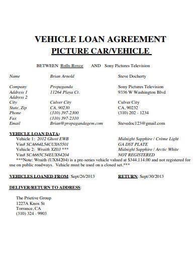 car loan agreement example
