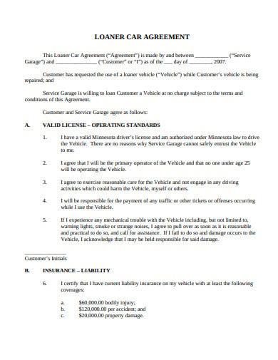 car loan agreement template
