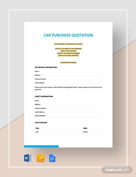 car purchase quotation template