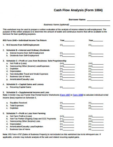cash flow analysis form template